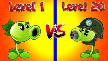 Plants vs Zombies 2 Compare Plants Repeater 1 vs Repeater 20 Level 1 vs Max Level in PVZ 2